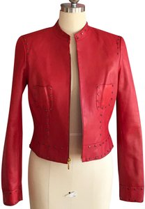 Cache red, bronze Leather Jacket