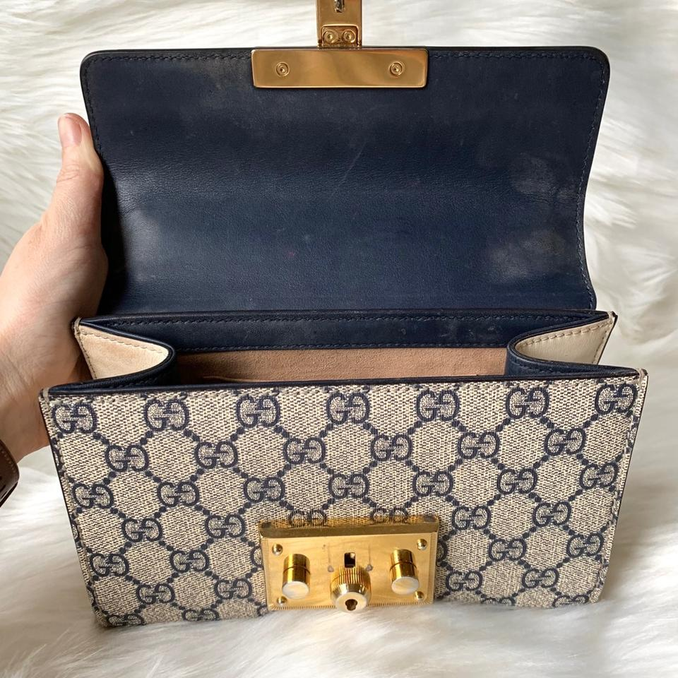 9773846ce92d Gucci Padlock Gg Supreme Monogram Small Navy Tan Leather Shoulder Bag -  Tradesy