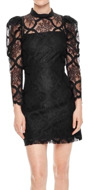 Item - Black Lace Puff Sleeve Mini Short Night Out Dress Size 4 (S)