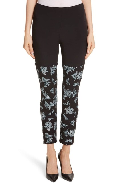 Item - Black Metallic Embroidered Ponte Skinny Pants Size 4 (S, 27)