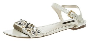 Louis Vuitton Leather Ankle Strap Studded Cream Sandals