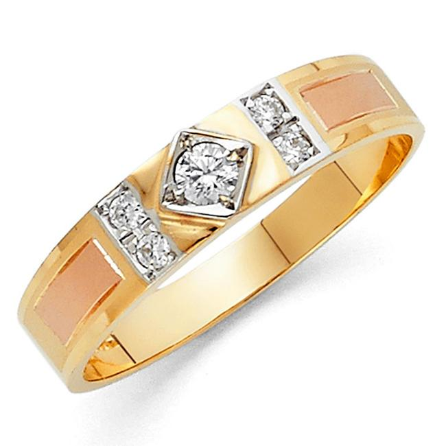 Top Gold & Diamond Jewelry Tri Color 14k Cubic Zirconia Men's Wedding Band Ring Top Gold & Diamond Jewelry Tri Color 14k Cubic Zirconia Men's Wedding Band Ring Image 1