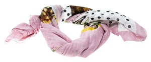 Dolce&Gabbana Multicolor Polka Dotted Pineapple Print Fringed Edge Scarf