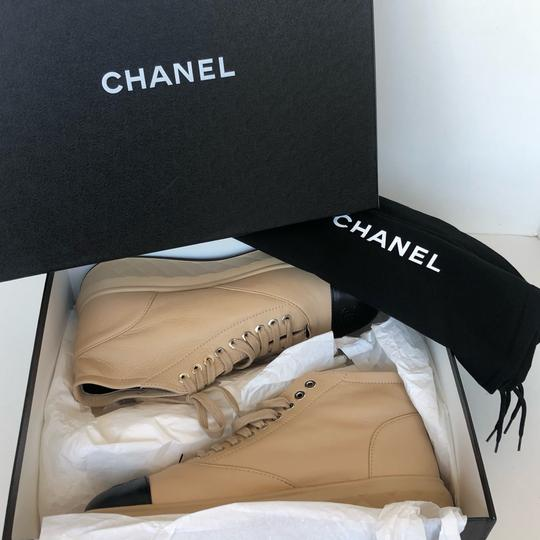 Chanel Walking Quilted Soft Leather Beige Black Boots Image 1