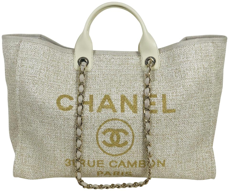 72b1d0e2904599 Chanel Deauville Large Ivory Treated Canvas Tote - Tradesy