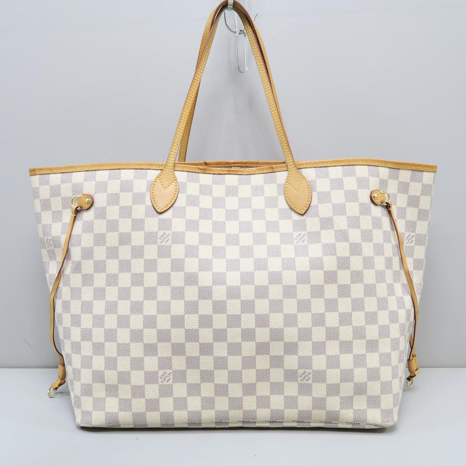 Louis Vuitton Neverfull Gm Damier Azur White Canvas Shoulder Bag ... cb0e60f8ef691