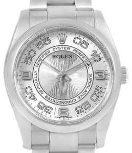 Rolex Rolex Oyster Perpetual Silver Concentric Mens Watch 116000 Box Card