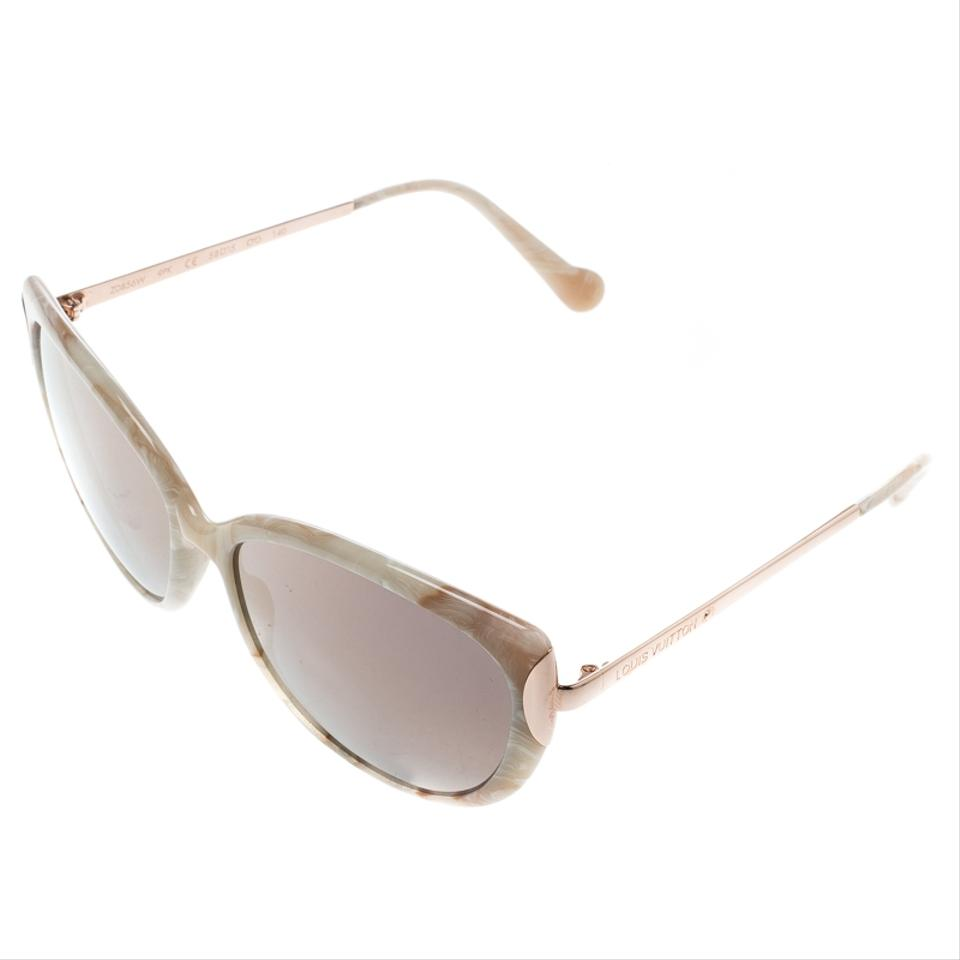 b1b7e45f53c Louis Vuitton Marble/Rose Gold Mirrored Z056W Cat Eye Sunglasses Image 6.  1234567