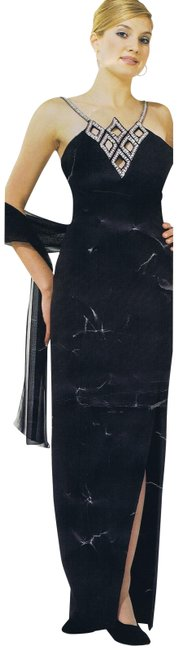 Item - Black Silver W T-strap W/Front Split and Sheer Shawl Long Night Out Dress Size 16 (XL, Plus 0x)