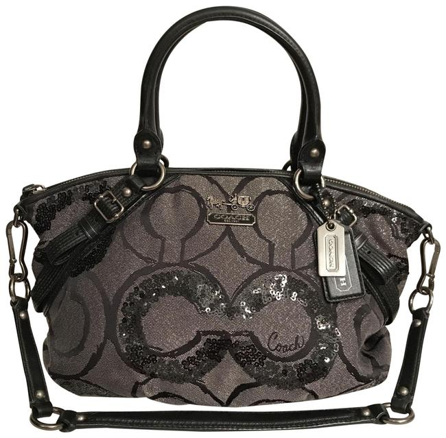 Item - Sophia Rare Madison Sequin Op Art 15945 Silver Gray Black Gunmetal Satin Satchel