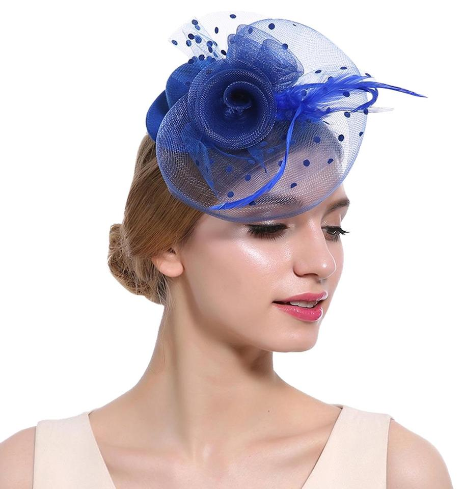 514a88229bd97 Other Electric Blue Mini Top Hat Fascinator Feather Mesh Church Hat  Cocktail Image 0 ...
