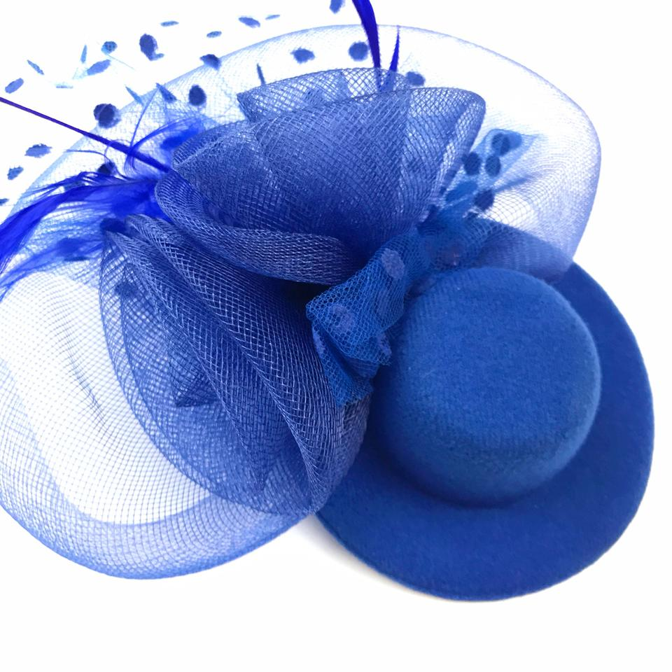 714ca8d94 Blue Electric Mini Top Hat Fascinator Feather Mesh Church Hat Cocktail Hair  Accessory 65% off retail