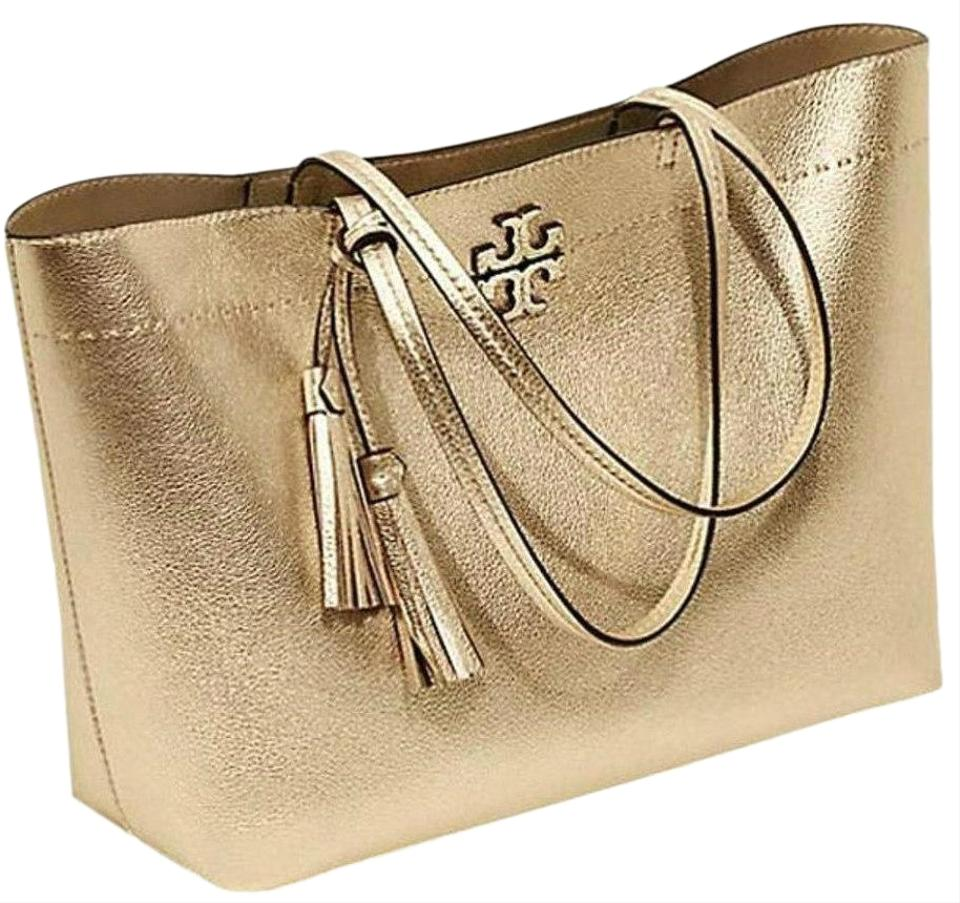 b80482744def Tory Burch New Purse Tassel Gold Leather Tote - Tradesy