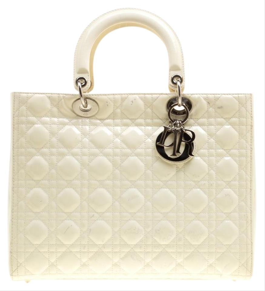 35eda703ab6e Dior Lady Dior Patent Large Cream Leather Tote - Tradesy