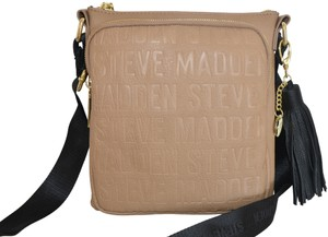 862fa68df3b Steve Madden Bglamm Logo Mushroom Black Gold Faux Leather Cross Body ...