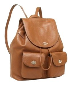 Coach Pebbled Leather Gold Toned Leather Adjustable Straps Backpack 2c9dbc11fcdeb
