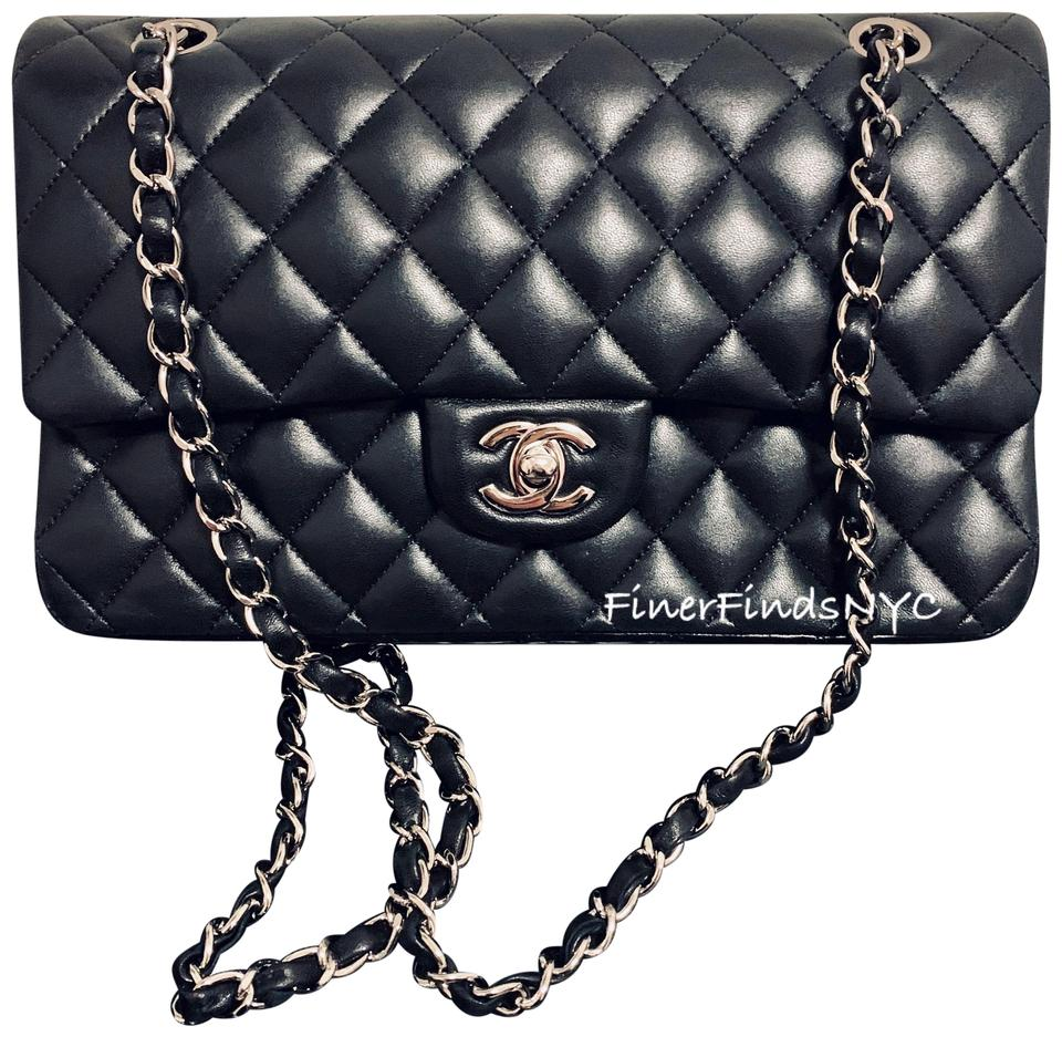 9884e5789334 Chanel Classic Flap Medium Silver Hdw Black Lambskin Leather Shoulder Bag