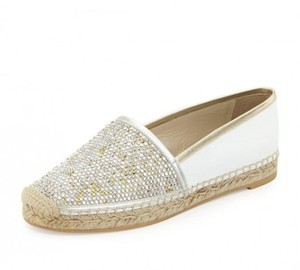 Rene Caovilla Strass Leather Espadrille IVORY Flats