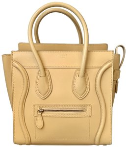 Céline Micro Micro Luggage Luggage Luggage Micro Tote in Yellow Butter Smooth