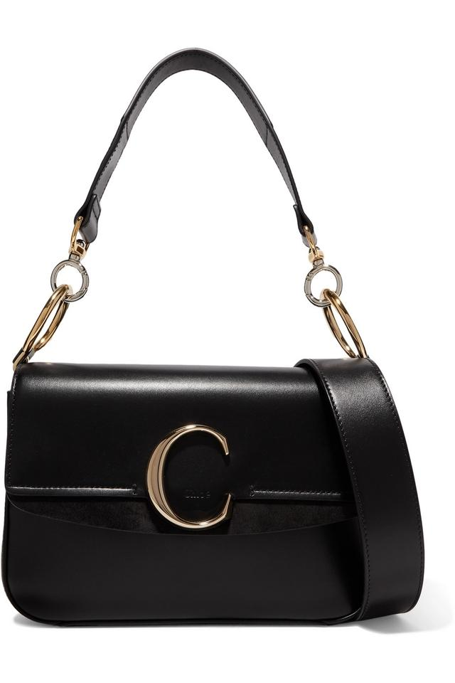 5575b19aa537f Chloé Small C Suede Trimmed Black Leather Shoulder Bag - Tradesy