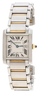 Cartier White 18K Yellow Gold and Stainless Steel Tank Francaise 2465 25 mm