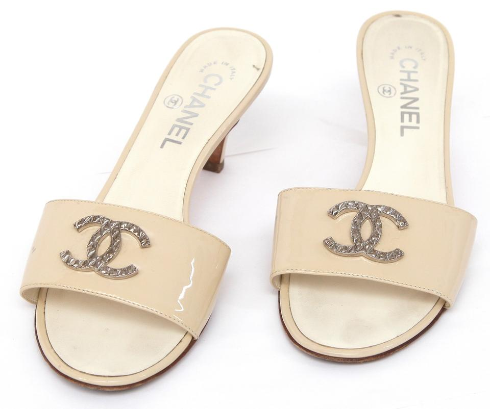 fd18faf9970d Chanel Beige Patent Leather Slide Mule Silver Quilted Cc Sandals. Size  EU  37 (Approx. US 7) ...