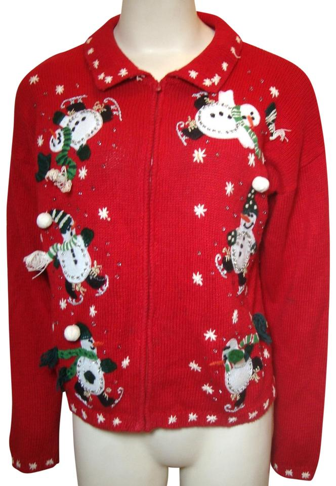 Plus Size Ugly Christmas Sweater.Red Ugly Christmas Sweater Sparkle Snowmen Cardigan Size 16 Xl Plus 0x