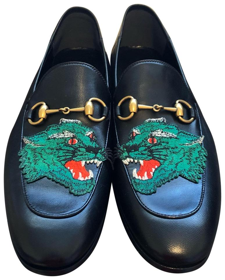 bd387ffb9df Gucci Black Horsebit Men s Brixton Panther Embroidered Leather Loafers  (Men) Sneakers