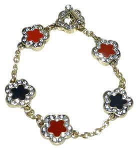 Heidi Daus HEIDI DAUS Easy Does It Crystal Enamel Clover Charm Chain Bracelet