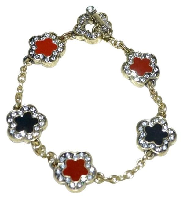 Item - Black and Red Easy Does It Crystal Enamel Clover Charm Chain Bracelet