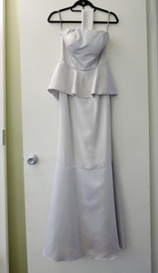 Vera Wang Sterling - Light Gray Crepe and Satin White By Formal Bridesmaid/Mob Dress Size 0 (XS)