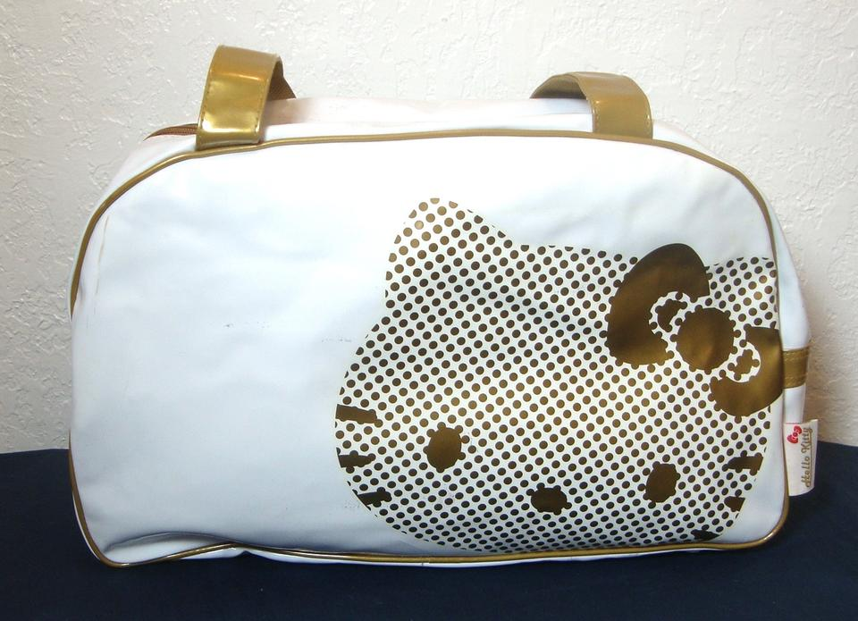 26530f4fc Hello Kitty Extra Large Handles Zip Top White & Gold Vinly Weekend ...