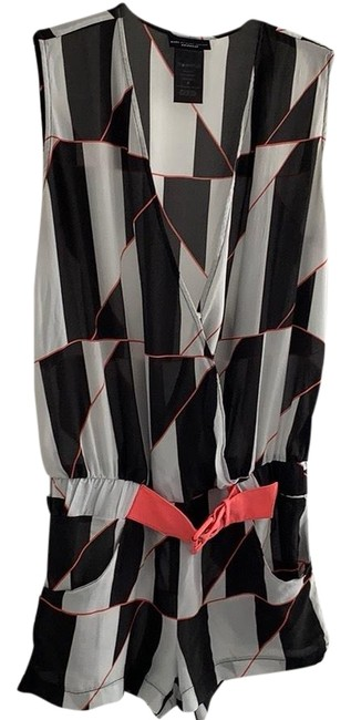Item - Gray Black and Coral Accents Romper Cover-up/Sarong Size 2 (XS)