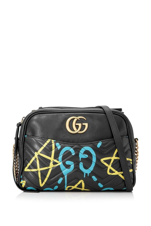 c556e1b0bdf9 Gucci Shoulder Marmont Ghost Chain Black Lambskin Cross Body Bag ...