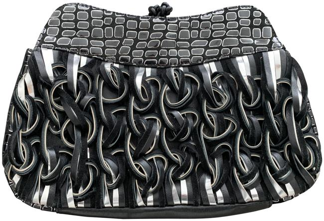 Item - With Chain (If Needed) Black and Silver Lambskin Leather Clutch