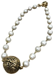 Chanel Chanel Vintage Faux Pearl Gold Chain Choker Necklace #20450 SALE!