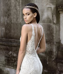 Justin Alexander Nude/Ivory Lace 9872 Sexy Wedding Dress Size 10 (M)