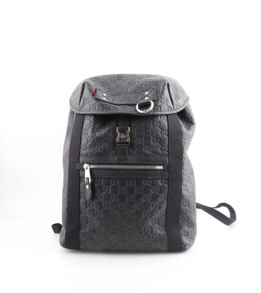 13ba8c8c0 Gucci Backpack Leather Guccissima Blue Canvas Weekend/Travel Bag ...