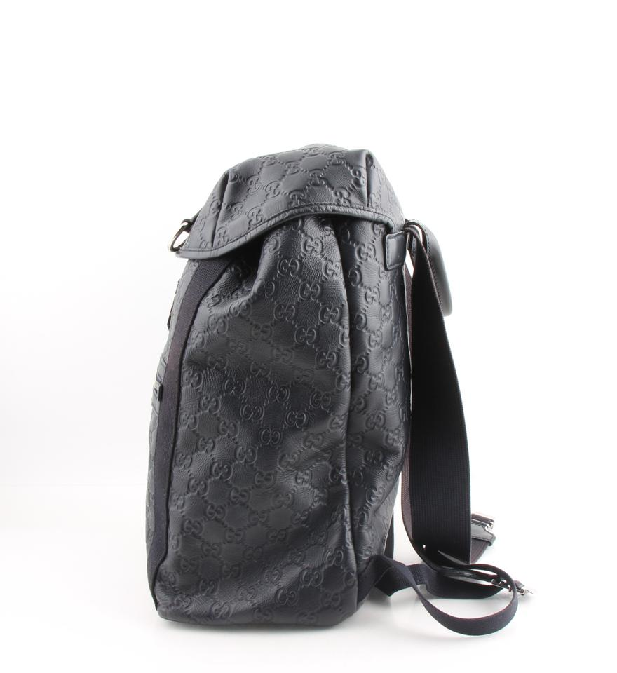 3d35b99e45858c Gucci Backpack Leather Guccissima Blue Canvas Weekend/Travel Bag ...