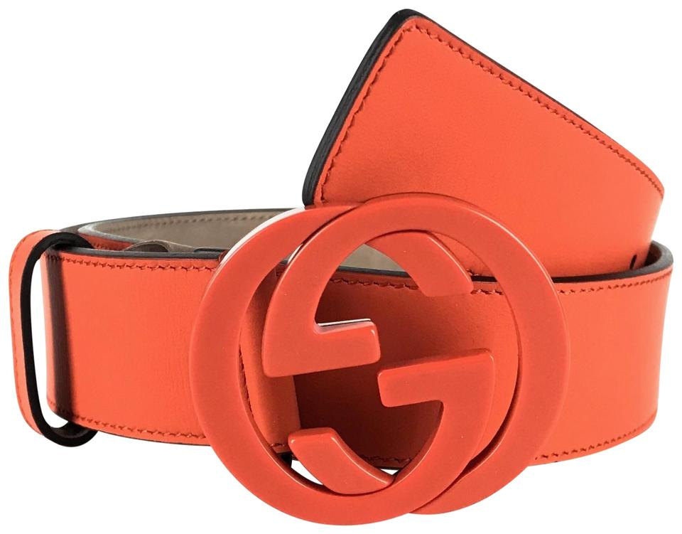 7daafb8b882 Gucci Orange 223891 Unisex with Interlocking G Buckle 85 - 34 Belt ...