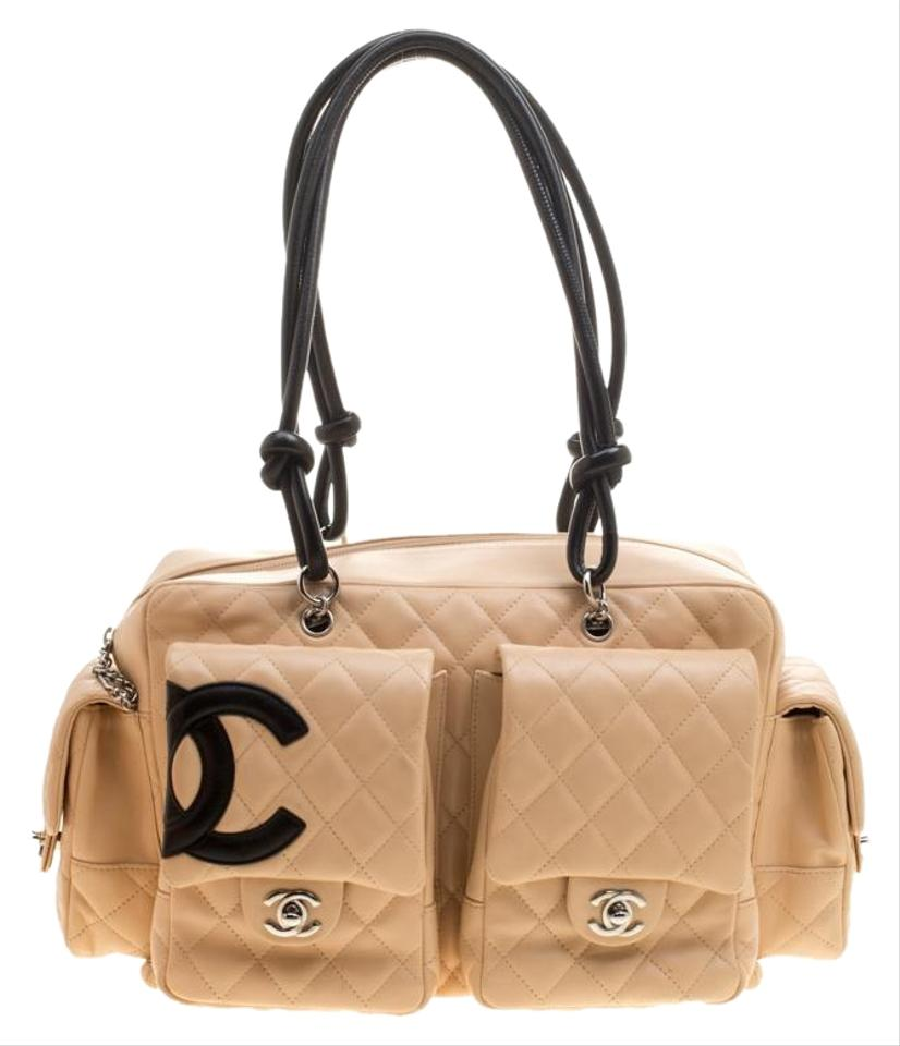 9a9ffac593a9 Chanel Cambon Beige Black Quilted Ligne Reporter Beige Leather Shoulder Bag