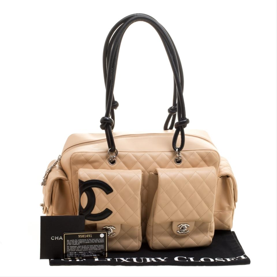 20cd2e3edf04 Chanel Cambon Beige Black Quilted Ligne Reporter Beige Leather ...