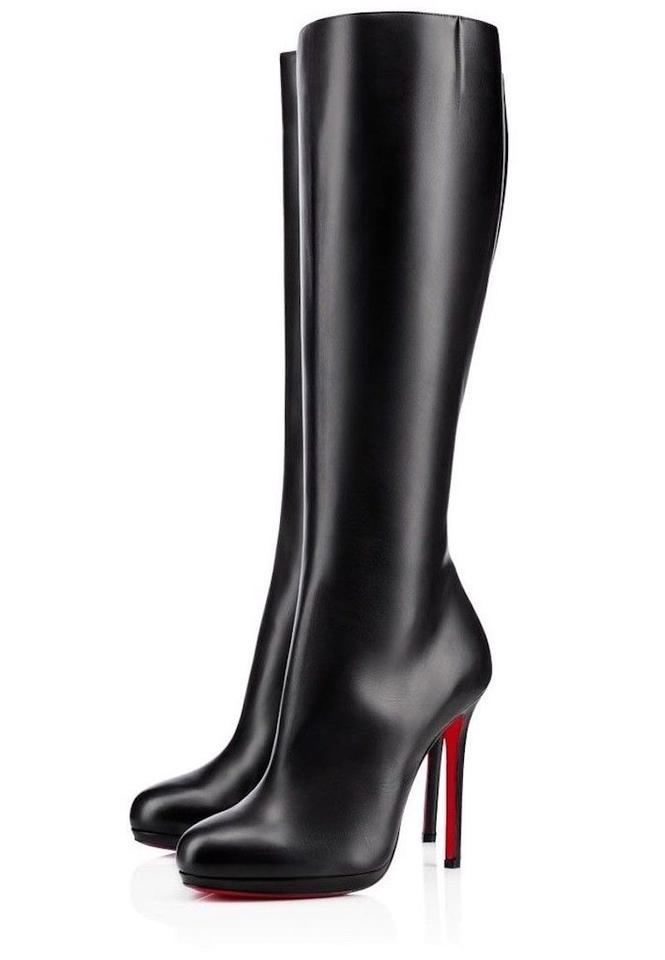 155eb6e5f5c4b Christian Louboutin Black Botalili 120 Calf Leather Classic Knee High  Stiletto Zip Heel Boots Booties