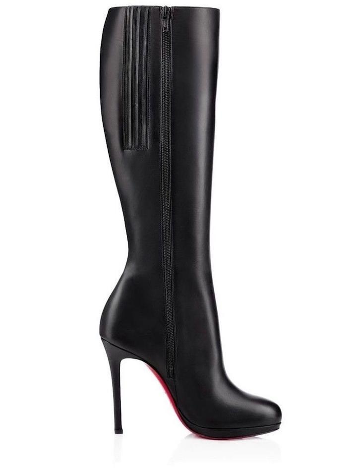cd230d49a0f7 Christian Louboutin Black Botalili 120 Calf Leather Classic Knee High  Stiletto Zip Heel Boots Booties Size EU 38 (Approx. US 8) Regular (M