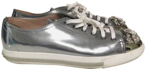 Miu Miu Round-toe Low-top Sneakers Musthave Embellished silver Athletic