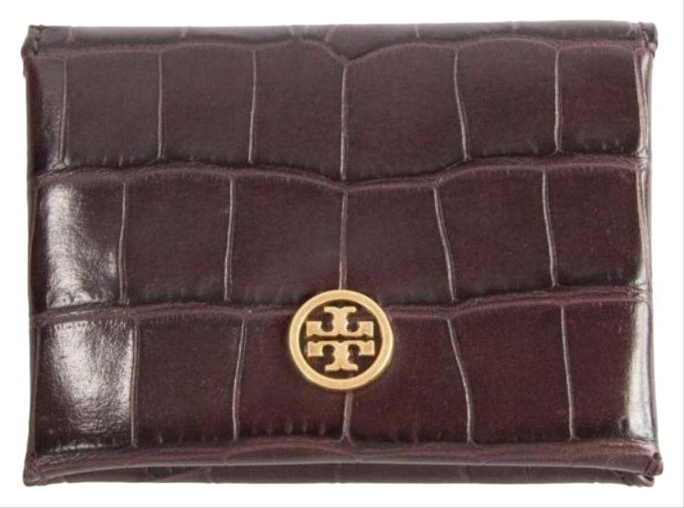 reputable site 54fa3 dad61 Tory Burch Brown Faux Croc Embossed Parker Foldable Card Case Wallet 42%  off retail