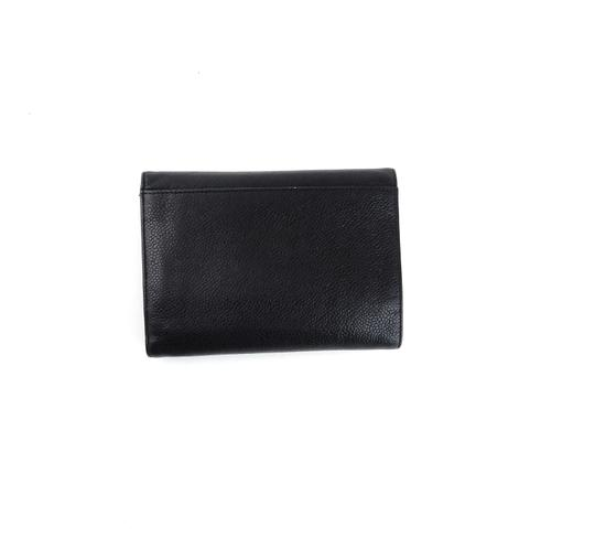 Chanel Black Calf Leather Mid-Size Clutch Wallet w/ Snap Closure France
