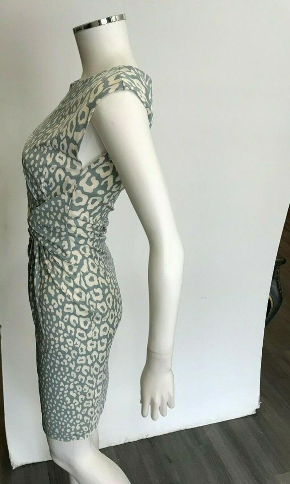 f6276484737 Gucci Gray Cream Leopard Print XS Gathered Cap Sleeve Short Cocktail ...