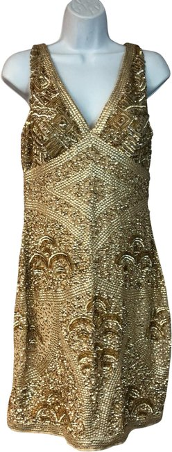 Item - Beige/Gold Gold/Beige Embellished Short Cocktail Dress Size 10 (M)