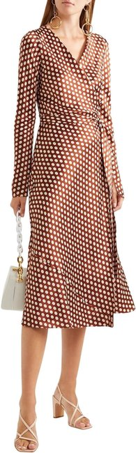 Item - Brown Tilly Polka-dot Silk-satin Wrap Mid-length Formal Dress Size 6 (S)